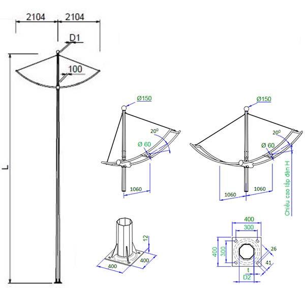 bản vẽ chi tiết cột đèn cao áp cánh buồm