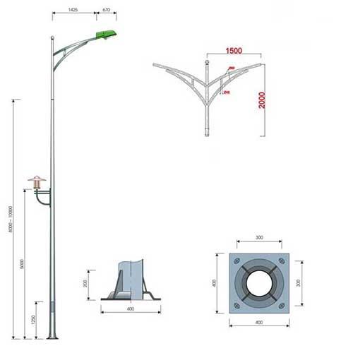 Bản vẽ chi tiết cột đèn cao áp pn 03