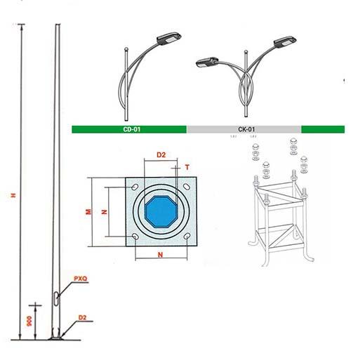 bản vẽ chi tiết cột đèn pn 01