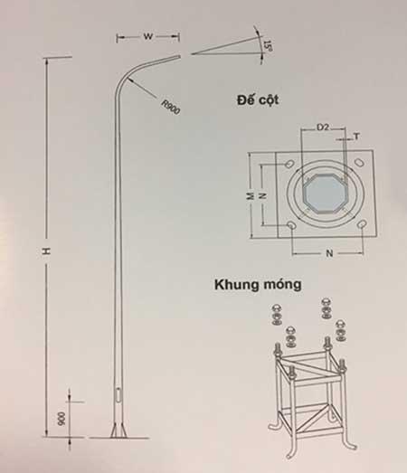 bản vẽ chi tiết cột đèn cao áp pn 05