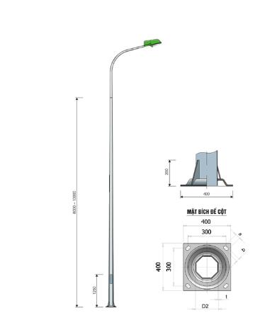 Phan Nguyễn sản xuất phân phối Cột đèn cao áp, trụ đèn chiếu sáng tại Kon Tum giá tốt