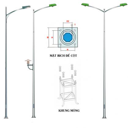 Cột đèn rời cần tốt là cột đèn được làm từ chất liệu chắc chắn như thép, nhôm, gang…