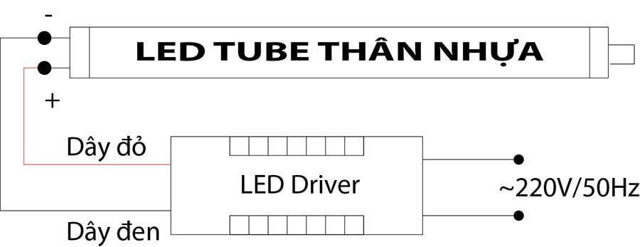 Cách đấu đèn LED Tube thân nhựa chi tiết