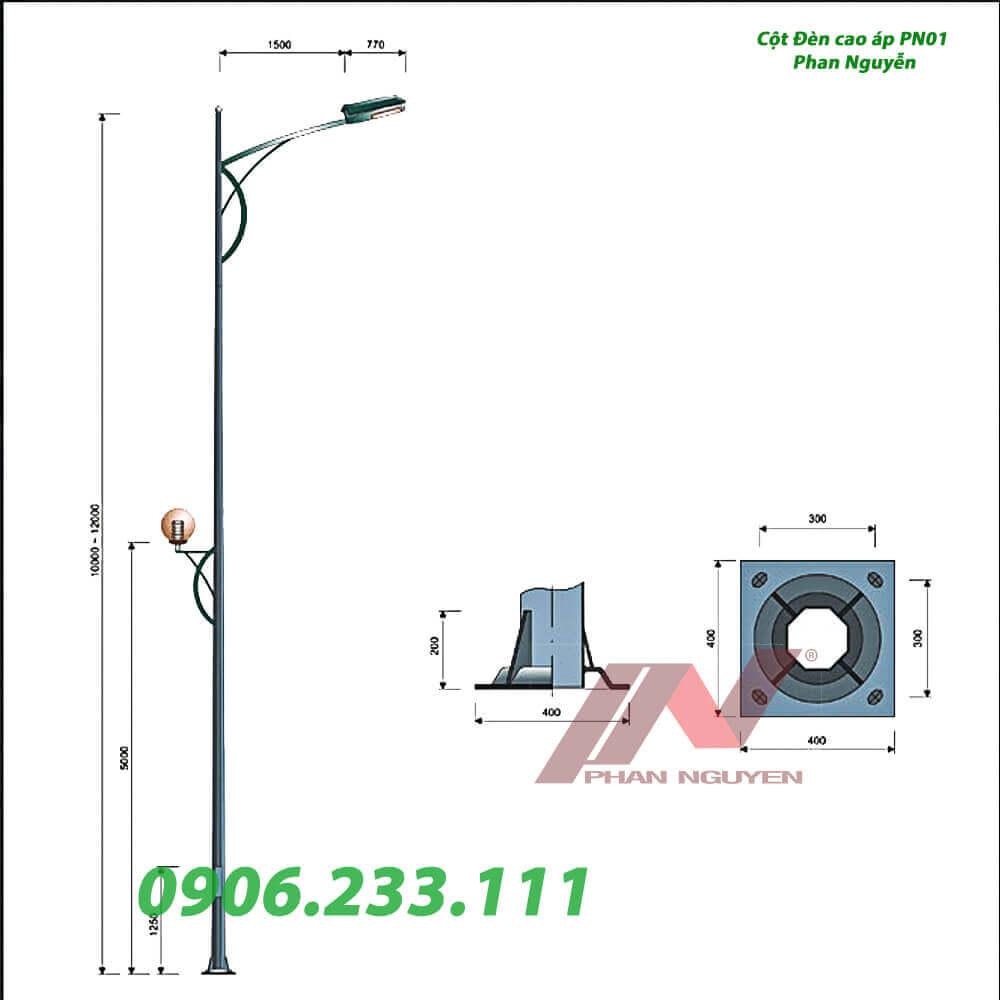 cột đèn chiếu sáng đường phố PN01
